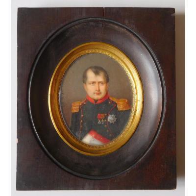 Miniature Portrait On Ivory Of Napoleon I By François Loritz - 1825