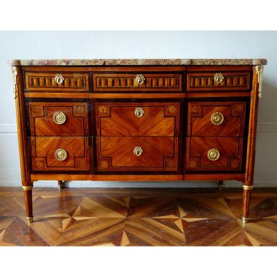 Louis XVI Period Commode In Marquetry, Gilt Bronze And Breche d'Alep