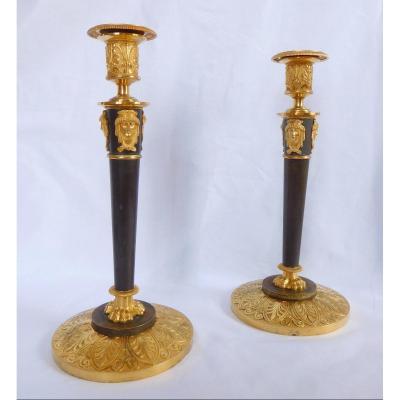 Claude Galle : Paire De Flambeaux Empire En Bronze Patiné & Doré