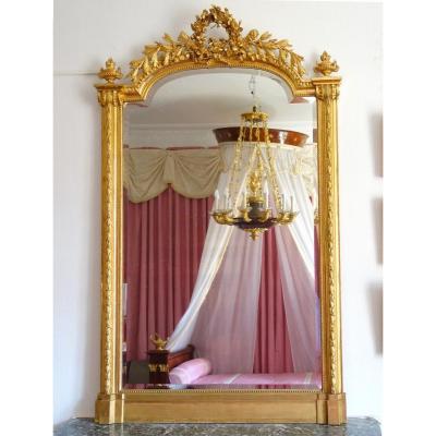 Louis XVI Style Gilded Wood Fireplace Mirror 189x111cm
