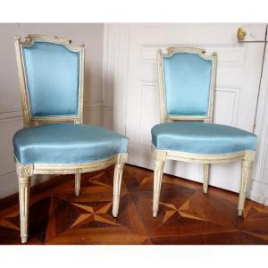Paire De Chaises En Cabriolet d'époque Louis XVI
