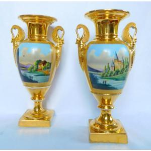 Paire De Vases d'Ornement Empire En Porcelaine De Paris - époque Restauration
