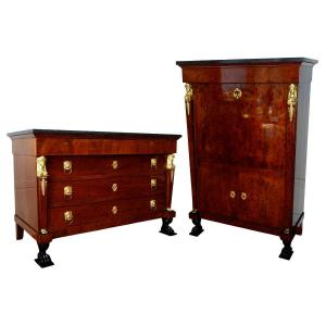 Consulate Mahogany Writing Desk And Commode, Early 19th Century Circa 1800