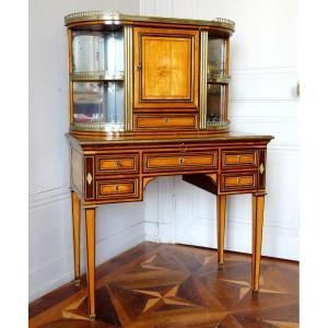 Writing Desk Bonheur Du Jour, Louis XVI Period, Lemon Tree And Amaranth