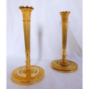 Claude Galle: Pair Of Ormolu Empire Candlesticks, Early 19th - Identical Model In Fontainebleau