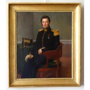 François Édouard Picot - Portrait d'Un Capitaine Du 63e Regiment De Ligne En 1828 - Hst 80x69cm
