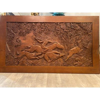 Grand Panneau en Bois Sculpté Style Art Déco