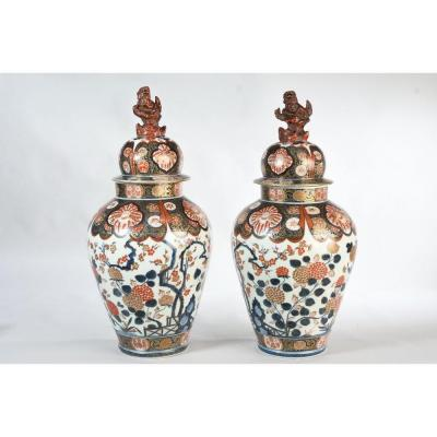 Large Pair Of Covered Porcelain Jars Imari