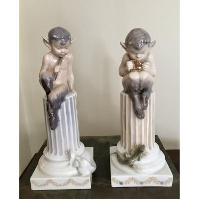 2 Fauns In Royal Copenhagen Porcelain.
