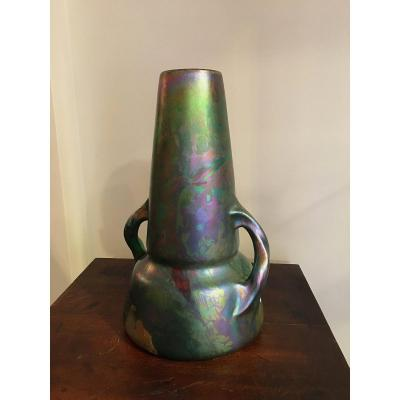 Vase Art Nouveau Irisé  Delphin Massier.