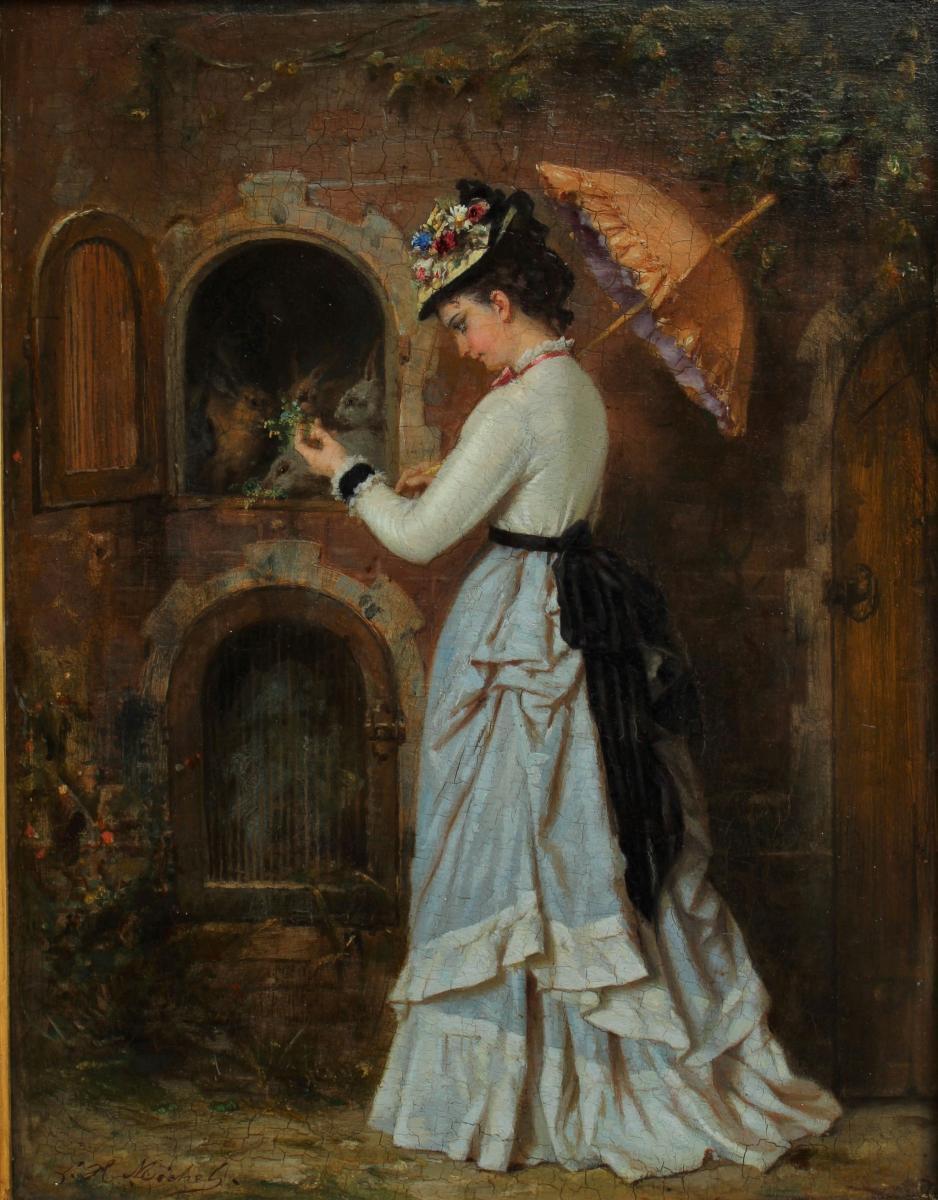 La visite aux lapins 1876, Léon H. Michel (?-1895)