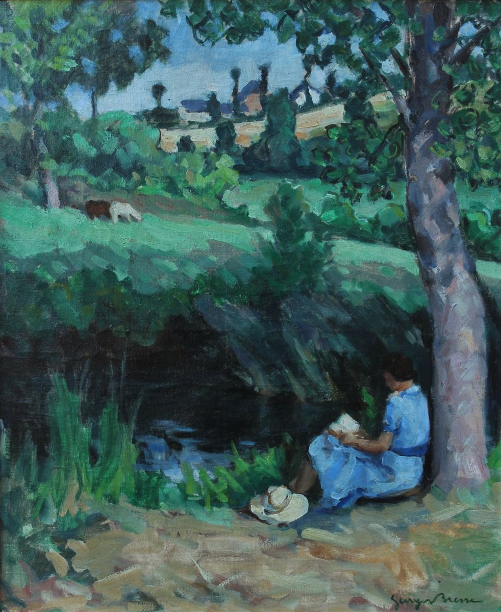 Georges Bresse XXth, Woman Reading In A Landscape