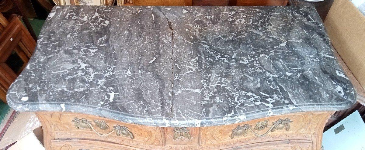 Commode XVIIIè galbée en hêtre naturel sculpté-photo-8