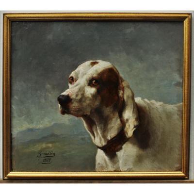 Portrait d'un chien de chasse 1877, J. Mélin (1814-1886)