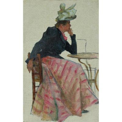 Elégante accoudée, H. Darien (1864-1925)