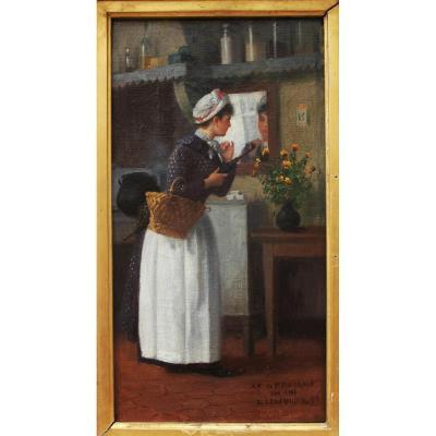 Jeune femme au panier, Basile Lemeunier (1852-1922)