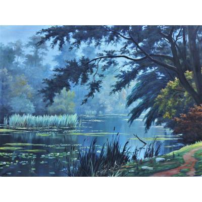 Grand paysage décoratif,  rivière aux nénuphars XXè