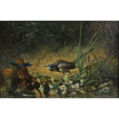 Libellule et oiseau des marais, Ludovic Napoléon Lepic (1839-1889) attrib. à