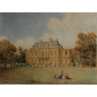 Vue d'un château et son jardin 1836, Philippe Benoist (1813-1905)