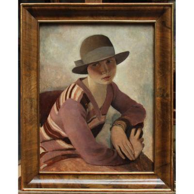 Louis Buisseret (1888-1956), portrait de femme au chapeau,