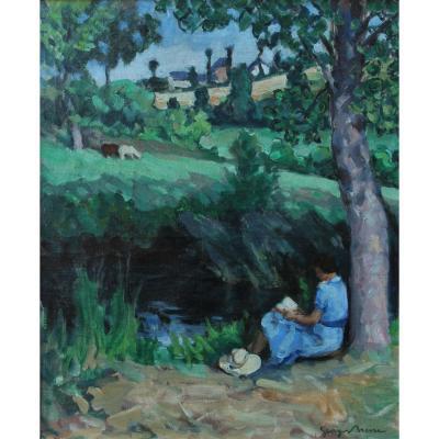 Georges BRESSE XXè, femme lisant dans un paysage