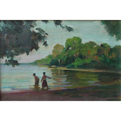 Paul-Emile LEGOUEZ (1882-?), Le Baray à Angkor, Cambodge
