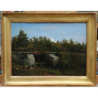 Léon FLEURY (1804-1858), Paysage animé, le déversoir.
