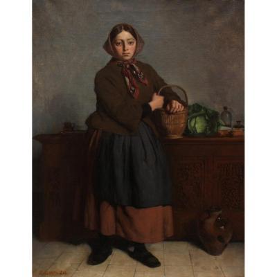 Jacques Gustave HAMELIN (1809-1895), Jeune paysanne au panier de légumes,