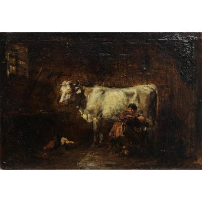 Vache à l'étable, la traite. Théodore Lévigne (1848-1912), Barbizon