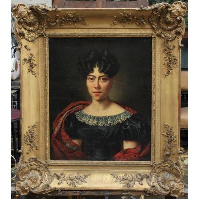 Portrait femme au châle cachemire vers 1840