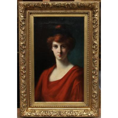 Germaine Dawis (1857-1927), Portrait Of Red-haired Woman