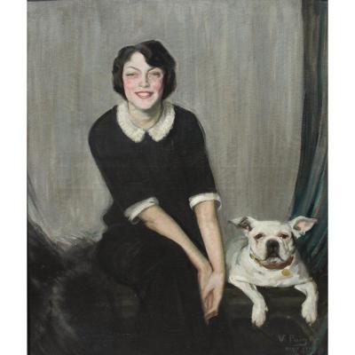 Y. de Bray et son bouledogue français 1911, V. Puig (1882-1965)
