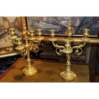 Paire de candélabres dorés style Louis XVI