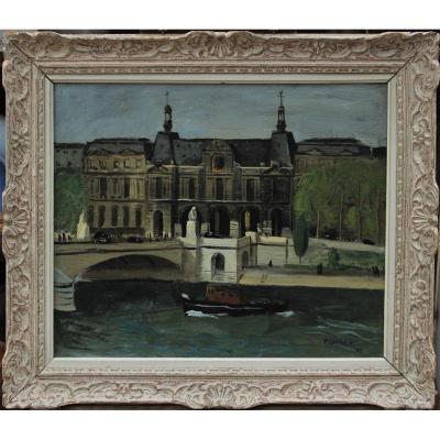 Pierre LAFAGES (1925-?). Le Louvre au pont du Carrousel, Paris 1947