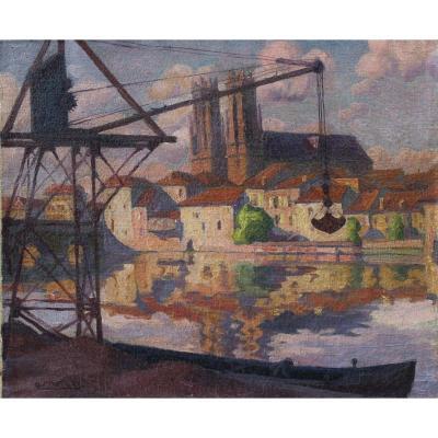 André Pierre MARTIN (1897-1973),La Moselle à Pont à Mousson 1929