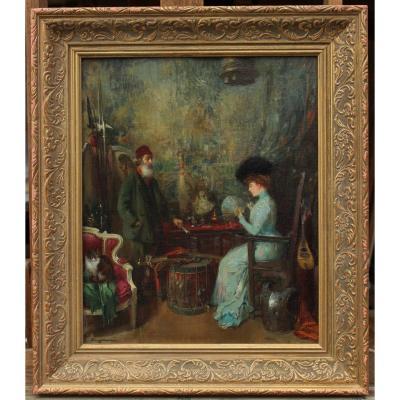 Henry JACQUIER (1878-1921),L'antiquaire la cliente à l'éventail et le chat