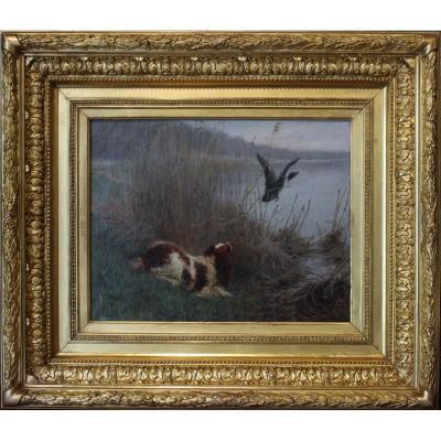 Maurice Moisand (1865-?), Cocker Spaniel And Duck