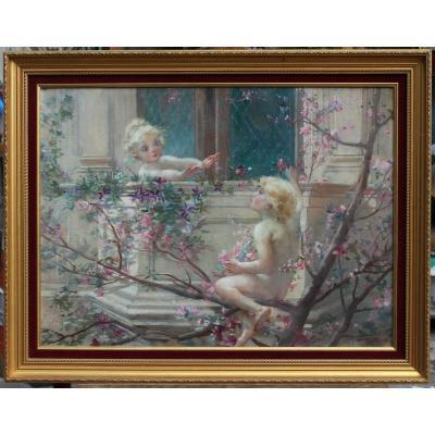 Henry BOUREAU (1860-1923), enfants aux fleurs 1897