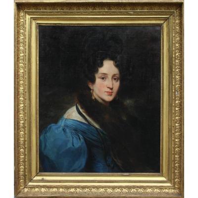 Eugène DEVERIA (1805-1865). Portrait de femme 1838