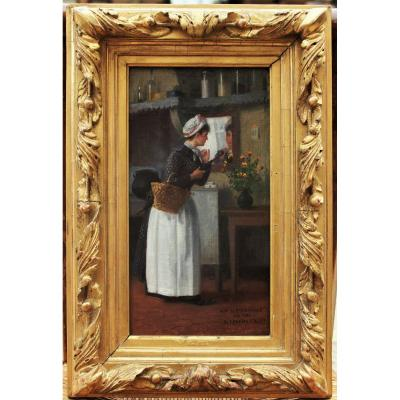 Basile Lemeunier (1852-1922). Young Woman With Basket,