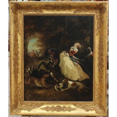 Achille GIROUX (1820-1854). Cavalière en amazone sur un cheval attaqué par un sanglier