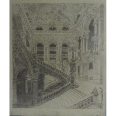 Victor Navlet (1819-1886), Staircase Of The Opéra Garnier In Paris