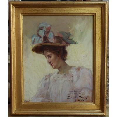 Paul Lecuit-monroy (1858-?), Woman With A Hat