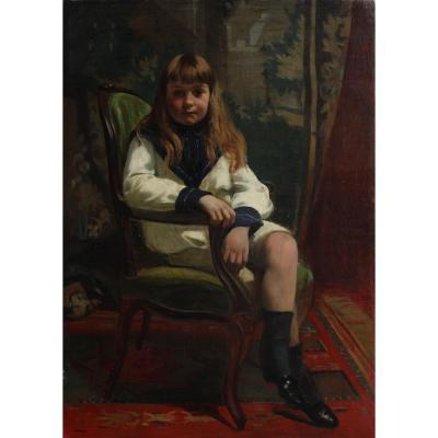 Émile L. Thivier (1858-1922). Portrait Of A Young Boy 1890