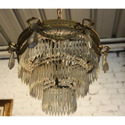 Bronze And Crystal Ceiling Chandelier Late Nineteenth