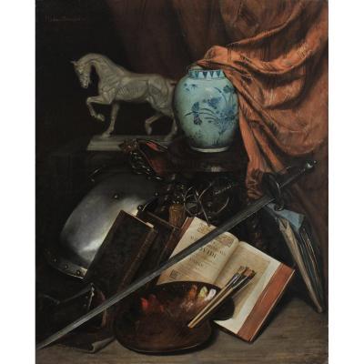 Pauline Wissant, Salon 1869, A Workshop Corner: Flayed, Chinese Vase, Breastplate, Palette