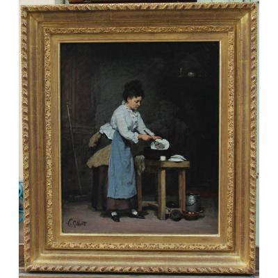 Victor GILBERT (1847-1933) attrib. à.  Femme à la vaisselle.