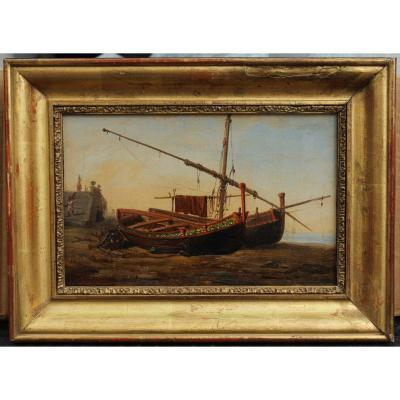 Marine napolitaine attrib. à  Anton S.  Pitloo (1790-1837)