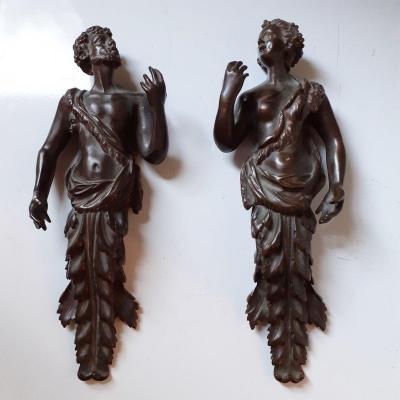 Deux éléments bronze XIXè, personnages à l'antique