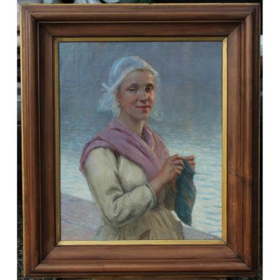 Bretonne au tricot à Concarneau, attr. Alfred Guillou (1844-1926)